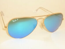 New RAY BAN Aviator  Matte Gold Frame RB 3025 112/4L  Polarized Blue Mirror 58mm