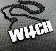 EVIL WITCH NECKLACE - goth deathrock witchcraft pagan satan inverted cross 666