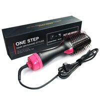 Women Hair Dryer Brush Styler Straightening Curling Hot Air Comb Roll Straight B