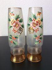 Paire de vases verre soufflé dépoli coloré irisé émaillé décor floral début XXe