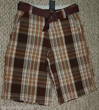Boys Bermuda Shorts BELT Two Tone Brown Plaid CELL POCKET 14 Adjustable Waist