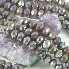 36 pcs 12mm Chinese Crystal Glass Beads Faceted Rondelle Purple Agate AB