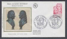 FRANCE FDC - 1990 1 VOLTAIRE ET ROUSSEAU - 1 Juillet 1978 - LUXE sur soie