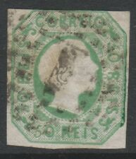 Portugal - 1856, 50r Yellow-Green - Straight Hair - 3 Margins - Used - SG 13