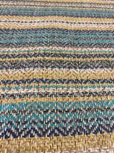 Wool effect herringbone horizontal stripe upholstery fabric Blue Mustard Grey