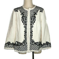 Chicos Open Front Jacket Blazer Women Size 2 L 12 Beaded Embroidered Fringe