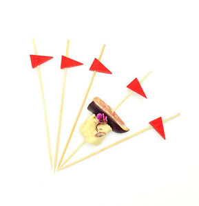 100pcs Red 12cm Wooden Golf Flag Skewers - Party BBQ Catering Eco Disposable Bio