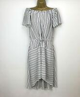 Halston Dress UK Size 12 Off The Shoulder Summer Striped Navy White