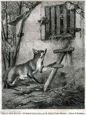 La volpe e l'uva. Favole di Esopo. Capolavoro. Stampa Antica + Passepartout.1857