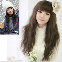 Hot Women Sexy Lady Long Curly Full Hair Wigs Cosplay Fluffy Wavy Wig with Bangs
