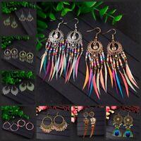 New Vintage Women's Bohemian Style Multicolor Shape Drop/Dangle Feather Earrings