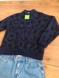 Kate Spade New York Wild Ones Blue Leopard Dark Blue Sweater | Size Small