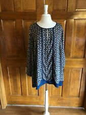 Black Rainn Blue Print Long Sleeve Tunic Top 3X
