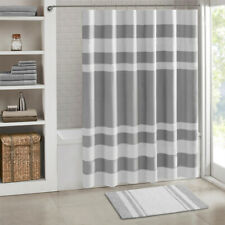 180cm Waterproof Shower Curtain Striped Printed Bath Curtain Bathroom With Hooks