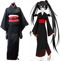 Japanese Anime Miku Traditional Women Black Furisode Kimono Cosplay Costume Set