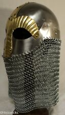 Viking Mask Helmet with full Chain Mail / Liner - re-enactment / larp / theatre