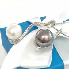 Gorgeous 10mm White Akoya Black Tahitian Pearl Diamond Necklace Women Jewelry