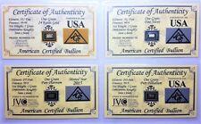 1/15 Gram .999 Fine - Gold - Silver - Platinum - Palladium - in COA Cards