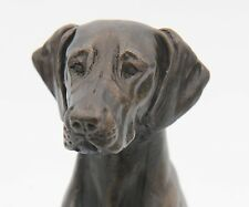 German Shorthair Pointer Sitting - Small Cold Cast Bronze Dog Statue - Figurine