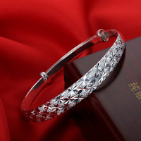 Fashion 925 Silver Plated Charm Women Bangle Cuff Bracelet Wristband Jewelry New