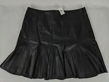 NWT ANN TAYLOR WOMENS VEGAN LEATHER PLEATED & FLARE SKIRT SZ S 12