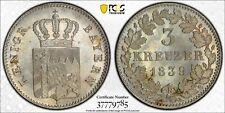 1839 Germany Bavaria 3 Kreuzer PCGS MS66 Top Finest