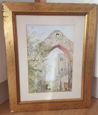 Stunning watercolour of a church by artist J Pettet