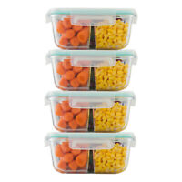 Square 25 Oz 3 Divider Compartment Glass Meal Prep Container W Snap Locking Lid
