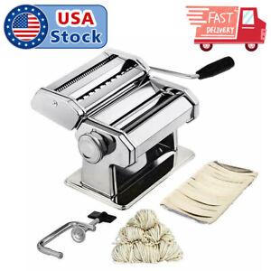 New Pasta Maker Roller Machine Fresh Noodle Spaghetti&Fettuccine Stainless Steel