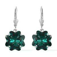 925 Sterling Silver Platinum Over Made with Swarovski Emerald Crystal Earrings