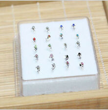Wholesale 20PCS Solid Silver Mixed Dolphin Crystal Straight Bar Rod Nose Stud