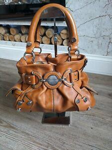 KAREN MILLEN Tan brown leather silver charm statement glamorous handbag