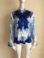 ROBERTO CAVALLI Blue/White Floral Silk Blouse 42 IT
