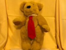 Deans Pontypool Uk Fully Jointed Teddy Bear Gold/blonde with red neck tie 16""