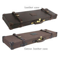 Tourbon Gun Hard Case Shotgun Safe Box Storage Canvas/Leather Hunting Takedown