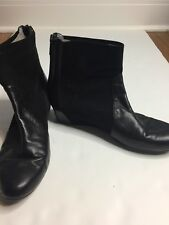 Aquatalia Una Anil Leather Suede Black Hidden Wedge Ankle Boot Size 10 10M