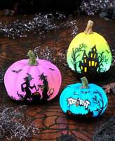 Lighted Silhouette Color Changing Halloween PUMPKINS Witches Haunted House