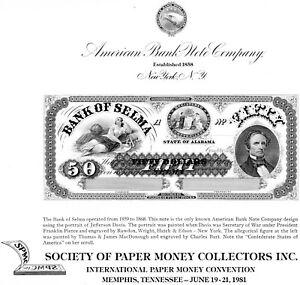 US 1981 ABN Co. Society of Paper Money Collectors INC. Souvenir Card #SO15