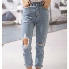 NWT Moon River Ripped High Waist Mom Jeans Blue 100% Cotton Size M