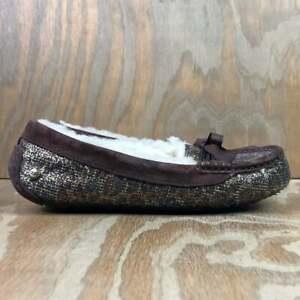 UGG Women's Rylee Metallic Leopard Glitter Moc Slippers Brown (1007411) Size 7