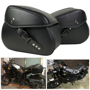 Motorcycle Pannier Saddlebag Luggage Saddle Hanging Bag w/ Rain Cover PU Leather