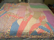 "BEAUTIFUL VINTAGE HANDMADE PATCH WORK NEEDLE POINT QUILT 67""x 69"""