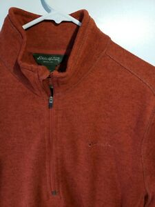 Eddie Bauer XL 1/4 Zip Knit Fleece Sweater Zip Pocket Heather Rust Red  6