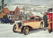 MG N Type airline coupe with British Royal Mail Post Box  Christmas card art