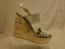 48848f868d67 Tory Burch Women Shoes Wedges Gold Floral Textured Slingback Cork Sandals Sz  10M