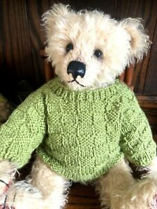 +TEDDY CLOTHES+ new hand knitted moss green jumper to suit a 16 inch bear.