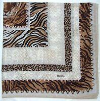 Luxury ESCADA Designer TIGER HEAD Animal Print Brown Black Crepe Silk Huge SCARF