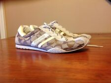 Coach Designer Athletic Sneakers Women's shoes size 8 Tan Leather Canvas Fitness