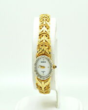 Geneve 14k Solid Yellow Gold Womens Quartz Round Face Watch-r