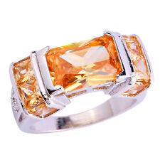 Wedding Band Emerald Cut Morganite Gemstone Silver Fashion Ring Size 8 Goodly